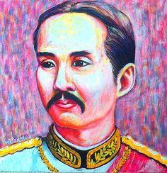 """ KING RAMA V (THAILAND)"" acrylic painting on canvas"