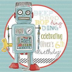robot party, stickers, party favor stickers, party decor, boy birthday party ideas via Party Box Design