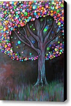 Fun buttons on canvas tree