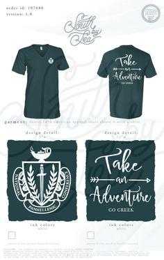 Take an Adventure | Go Greek | Crest T-Shirt Design | Panhellenic T-Shirt Design…