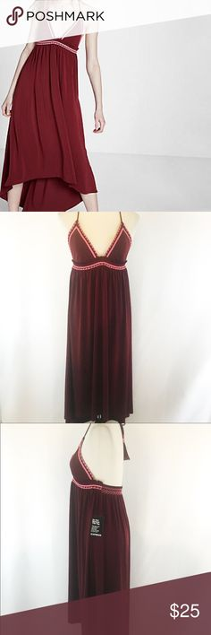 NWT Express Dress NWT Express embroidered maxi with tassel-tie Halter and plunging neckline. High Low Hem. Size SP. No Flaws.    (017) Express Dresses High Low