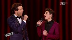"""Mika and David Thibault singing """"Your Song"""" on The Voice"""