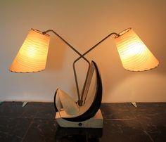 Vintage Retro Mid Century Atomic Age Plaster Dual Fiberglass Table Lamp 1950s