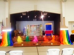 Workshop of wonders VBS: Love the paintbrushes on the side of the stage.