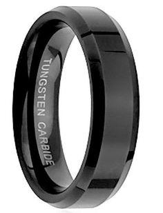 8MM Solid Shine Polished Black Tungsten Carbide Men's Wedding Engagement Band Black Band Size 9.5