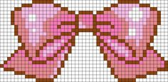 Cute Pink Bow Perler Bead Pattern / Bead Sprite