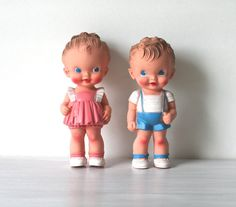 Sun Rubber Squeaky Ruth E Newton Dolls  (Found at Brimfield) These are great for bridal showers if you knew the  bride and/or groom as kids. They come in many combinations of hair, skin, and eye color.