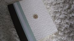 Textured Wedding Photo Album in White Brown and Soft by Daisyblu