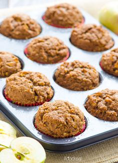 Whole Wheat Apple Spice Muffins Recipe - Healthy muffins with Cinnamon Sugar topping. You will love how fluffy and simple these are.