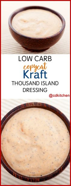 Low Carb Copycat Kraft Thousand Island Dressing - This low carb copycat recipe skips the carbs but keeps the flavor. Use anywhere you use regular thousand island salad dressing. | CDKitchen.com