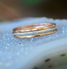 Rings Gold Rose Gold Silver  Skinny Stacks by JLaurynDesign, $30.00