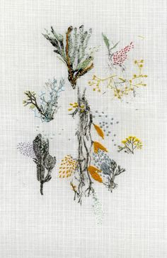 lyndseymcdougall:Seaweed for Paris, 2015Lyndsey McDougallInk and various threads on linen and cotton.