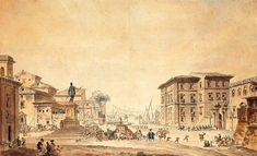 """The piazza and palazzo reale in Messina"" by Louis Jean Desprez Messina, Palazzo, Taj Mahal, Travel, Painting, Fotografia, Viajes, Painting Art, Destinations"