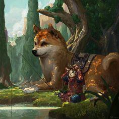 "regram @art_series ""The cat warrior"" by  S - Lpis #art #art_series #digitalart #арт  #собака #кот #воин #рыбалка #деревья #рисунок #красиво #иллюстрация #шедевр #броня #седло #трава #солнце #fantasy #fantasyart #painting #illustration  #cat  #warrior #dog  #beautiful #trees #lake  #fishing #SLpis"