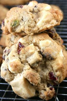White and Dark Chocolate Chunk Dried Cranberry Salted Pistachio Drop Cookies