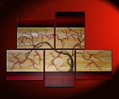 Large+Tree+Painting+Red+and+Gold+Zen+Contemporary+by+NathalieVan,+$315.00
