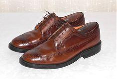Stuart McGuire Vtg Brown Leather Wing Tip Dress Oxford No Size Est. 10 ? READ  #StuartMcguire #WingTipOxford