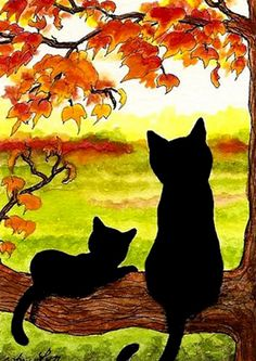 """Black Cats in Autumn Landscape"" par AmyLyn Bihrle – Malerei Black Cat Art, Black Cats, Art Rupestre, Oil Pastel Art, Inspiration Art, Autumn Art, Learn To Paint, Landscape Art, Landscape Drawings"