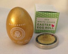 RARE 2014 White House Easter Egg in Box Signed by Barack and Michelle Obama