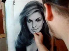 Speed drawing portrait Eva Mendes in technique dry brush. Portrait painting Yakov Dedyk