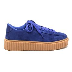 Jeepers Creepers Platform Sneakers (1.370 RUB) ❤ liked on Polyvore featuring shoes, sneakers, blue, low top, blue creeper, platform sneakers, vegan sneakers and creeper sneakers