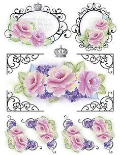 Litoarte Decoupage Vintage, Decoupage Paper, Vintage Tags, Vintage Diy, Disney Princess Cupcakes, Homemade Stickers, Scrapbooking, Paper Crafts Origami, Flower Frame