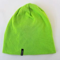 b7fed1fa0e2 Patagonia Slopestyle Beanie Hat Cap Lime Green Knit Slouch Cuffed One Size