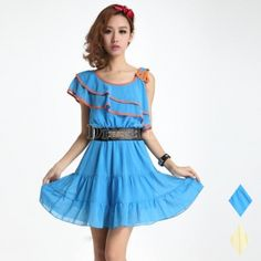 $ 8.84 Round Collar Flouncing Chiffon Dress With Belt 2 Colors 2 Sizes