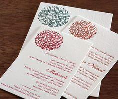 Client Designed Decorative Arabic Script Artwork On Custom Letterpress  Wedding