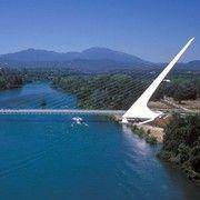 Sundial Bridge at Turtle Bay crosses the Sacramento River in Redding, California