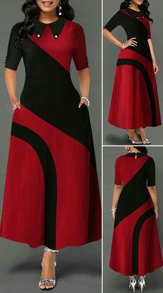 Keyhole Back Color Block Pearl Embellished Dress HOT SALES beautiful dress… – Christmas Fashion Trends Frock Fashion, Women's Fashion Dresses, Dress Outfits, Casual Dresses, Fashion Fashion, Fashion Women, Casual Outfits, Summer Dresses, Long African Dresses