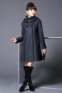High quality 2013New Winter Coats Korean Version of The Double breasted Woolen Girls Long Coat Woolen Coat Genuine Women Jackets-in Down & P...