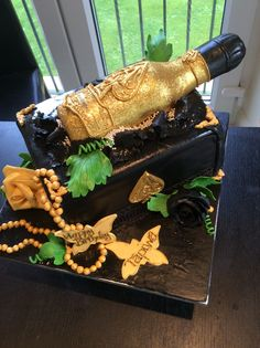 Ace of Spades Champagne - Gold Bottle Cake for Ms. Tapiwa who loves bling!