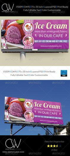Ice Cream Billboard Template Vol.2 - Signage Print Templates