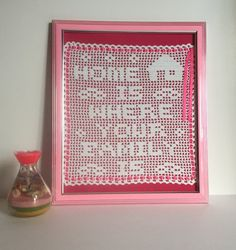 Crochet Art Wall Decor / Home Is Where Your Family by KROCHETBYCB