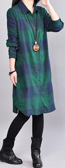 boutique green shirt cotton dress trendy plus size cotton maxi dress women long sleeve plaid cotton clothing2