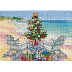 "Dimensions Gold Collection Petite ""Christmas on the Beach"" Counted Cross Stitch Kit, 7"" x 5"""