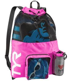 The TYR Big Mesh Mummy Backpack is the perfect choice for hauling swim and workout gear. The TYR Mesh Gear Bag includes a spacious main compartment for storage and mesh venting for increased dry time and drainage. Swimming Gear, Swimming Equipment, Swimming Outfit, Swimming Kit, Swimming Coach, Pool Workout, Workout Gear, Cardio Training, Triathlon Training