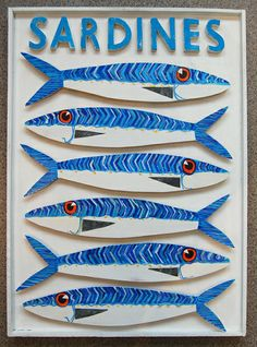 Sardine Box  £390     Sardine box with six hand painted sardines with metal fins, lettering and sardines are mounted on small blocks of wood  which create a three dimensional effect. then set in a clapboard box  Dimensions  Box is  48 x 67 cms and  3.5 cms deep  This item is heavy so if purchasing on line please ring so that we can add postage .  SOLD ,but I can make another similiar-ring me for more details.   please ring us on +44 (0)1328 738621.