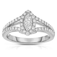 2/3 CTW Marquise Vintage Halo Diamond Engagement Ring with Split Shank in 14k White Gold (GHI, I1)