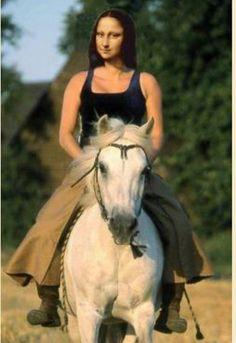 Mona on Horseback Cool Pictures, Funny Pictures, La Madone, Mona Lisa Parody, Mona Lisa Smile, Famous Art, Famous Women, Art Projects, Horses