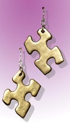 Recycled Puzzle Piece Earrings
