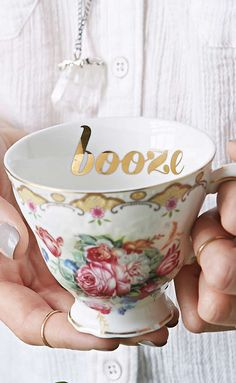 Mom didn't drink booze at all-- in her tea or under any other circumstance. Her daughter on the other hand-- well. that's different story entirely Coffee Cups, Tea Cups, My Cup Of Tea, Smart Tiles, High Tea, Cool Gifts, Tea Time, Decoration, Tea Party