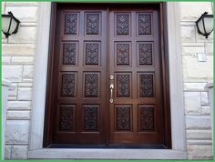 Exotic Dark Brown Varnished Oak Wood Double Front Doors Design Be Equipped Sixteen Hand Carved Panels Plus Satin Nickel Pull Handle. Harmonious Solid Wood Front Doors Design For Homes Wooden Double Doors, Double Front Entry Doors, Double Doors Exterior, Wood Entry Doors, Wooden Front Doors, Barn Doors, Entrance Doors, Door Entry, Sliding Doors