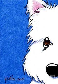 Westie Up Close Painting  - Westie Up Close Fine Art Print