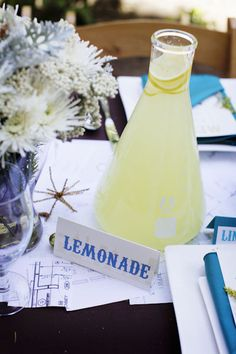 beaker as a lemonade pitcher  //  Perfect Chemistry Theme Bridal Shower by Alders Photography
