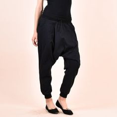 Avant Garde Pants /Harem Pants Women /Drop Crotch Pants/ Baggy   Etsy Baggy Pants, Black Harem Pants, Harem Trousers, Casual Pants, Maxi Pants, Drop Crotch Pants, Sweat Shirt, Military Combat Boots, Urban Apparel