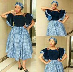 African sotho Shweshwe dresses for 2020 ⋆ African Fashion Designers, African Men Fashion, Africa Fashion, African Fashion Dresses, African Women, Fashion Outfits, Fashion Styles, Ladies Fashion, African Outfits