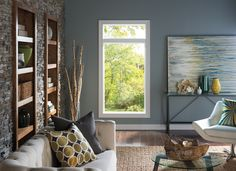 Natural Chic Living Room - Pella 250 Series Windows   Pella Photo Gallery