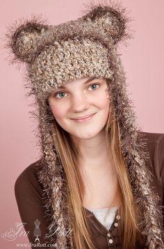 Handmade crochet light brown bear hat for all ages